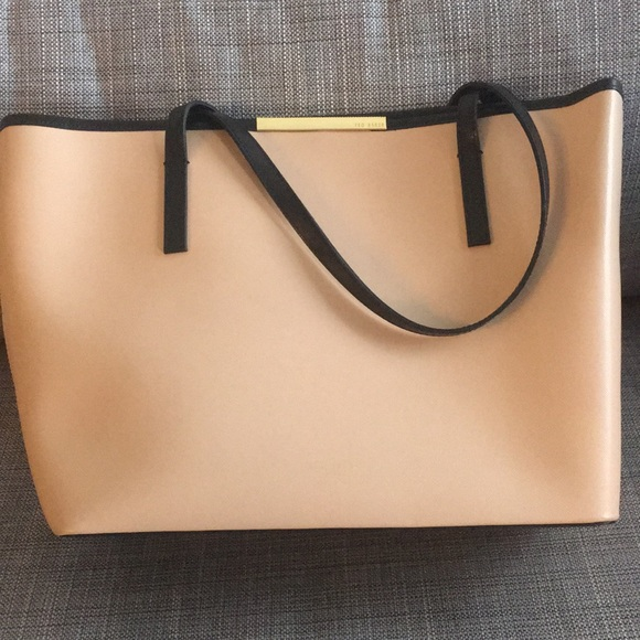 Ted Baker London Handbags - Camel and black Ted Baker leather tote